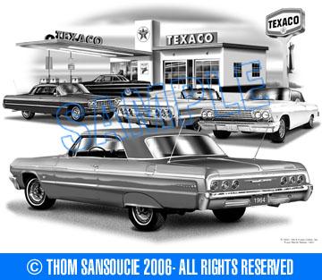 Thom SanSoucie Chevy 1964 Impalas Flashback Print 1402